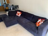 3 Seater Sofa, left hand Chaise and footstool