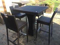 RATTAN GARDEN BAR STYLE TABLE & 4 BAR CHAIRS