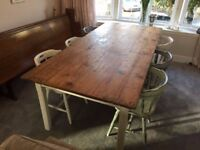 Large Rustic Dining Table + 8 Chairs