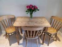 Antique pine kitchen table and 4 chairs