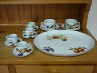 Royal Worcester Evesham Platter & Cups and Saucers