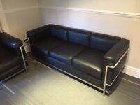 fantastic real leather 3 seater and sigle seater office couch