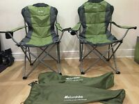 Two eurohike langdale deluxe camping chairs