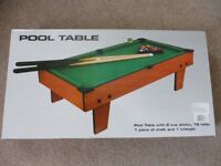 Small Table Top Pool Table 2x1 Foot. New In Box. Wood Cues