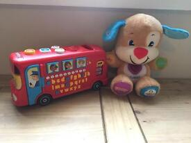 Toddler toys bus and dog