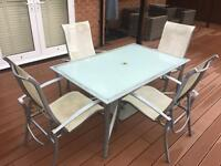 Patio Dining Table - 4 Reclining Chairs - 2 Footstools