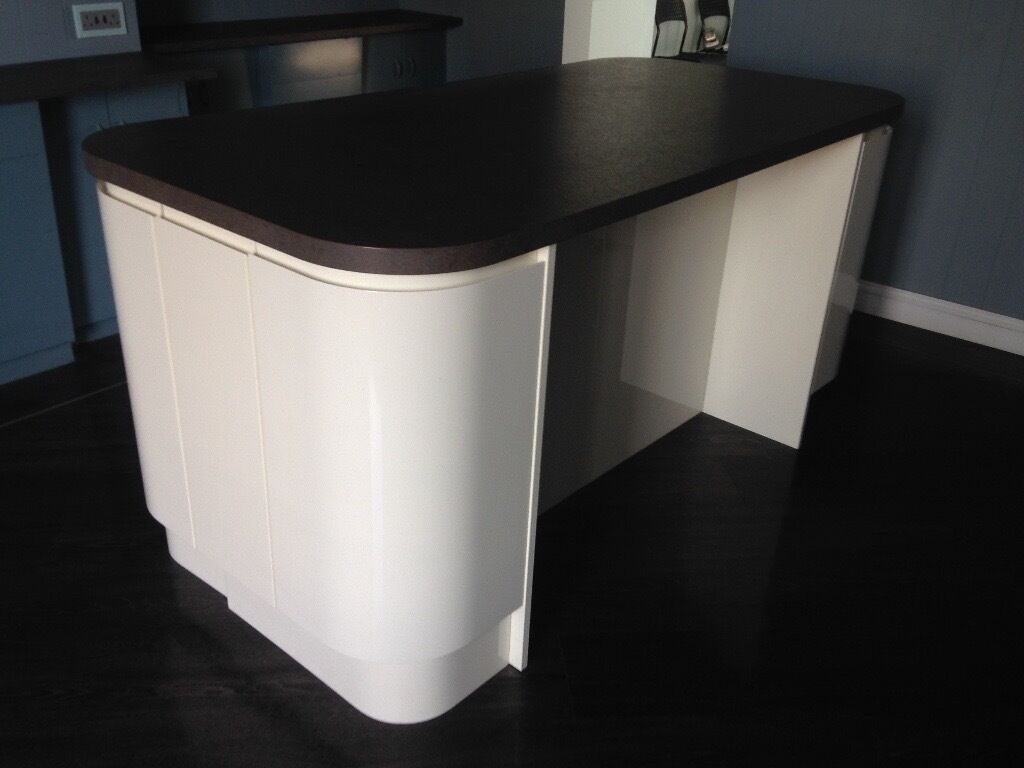 Kitchen island ex display curved cream high gloss base for Cream kitchen base units