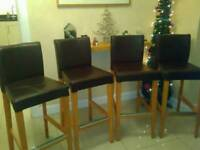Ikea Bar stools chairs 74cm Henriksdal Brown leather