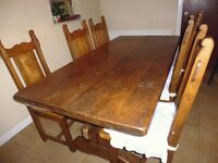 Large Oak Refectory Table, beautifully made and 6 matching chairs