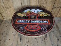 Fairground painted COFFEE TABLE decorative sign painted Harley Davidson hairpin upcycle gplanera