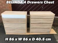 BELINDA 4 DRAWERS CHEST BRAND NEW!!! POSSIBLE FULLY ASSEMBLED OR FLAT PACKED.. LIMITED STOCK!