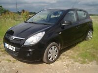 2009 Hyundai i20 Classic, 5 door with hatchback, in black. ISOFIXings. 50,000 miles. Air con. £2950