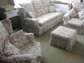 Sofa Bed and armchair suite with Pouffe