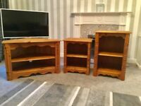 Solid Pine living room TV unit & 2 solid pine display units in excellent condition