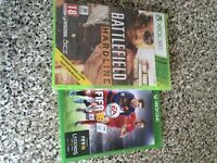 Two video games. Xbox one Fifa 16 and Xbox 360 battlefield hardline