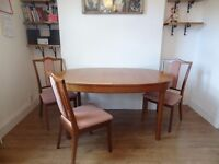 Teak Dining table 4 chairs Danish mid century Modernist 60's
