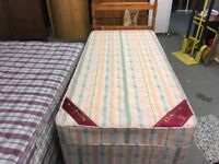 SINGLE DIVAN BED WITH MATTRESS AND PINE HEADBOARD AND STORAGE DRAWERS