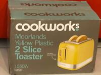 Cookworks Yellow 2 Slice Toaster-New & Boxed RRP £15.00