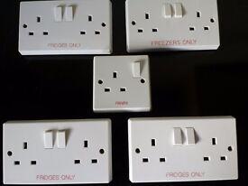 Labelled Kitchen Socket outlet plates Freezer / Fridge
