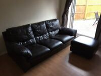 3 Seater Leather Sofa & Storage Foot Stool