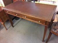LARGE DESK WITH LEATHER TOP AND DRAWERS