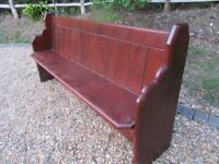 OLD PINE CHURCH PEW. Last one, delivery poss. Also settle with storage, 2 benches & chapel chairs