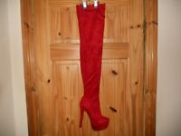 Brand New Faux Suede Ladies Thigh High Platform Boots RED Size 37