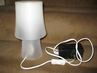 Small Table Lamp with White Plastic Shade