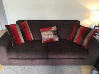 Brown Fabric 2/3 Seater Sofa - Great condition - Cushions optional
