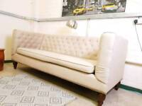 Made com Flynn 3 seater sofa in taupe mixed linen RRP £700