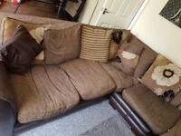 Brown corner sofa brown with matching pouffe