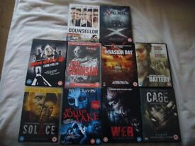10 x HORROR/THRILLER/ACTION DVD's.GREAT CONDITION.£10 THE LOT.