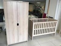 Brand New Mamas and Papas Otto Light Oak Cot bed And 2 Door Wardrobe