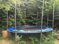 12 foot trampoline well loved. Needs new net