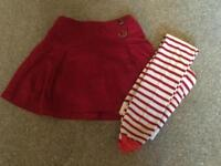 Marks and Spencer girls skirt and tights set. Age 3-4