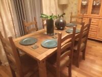 Mexican pine dining table and chairs