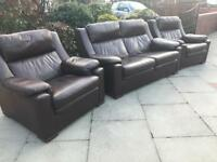 Brown leather sofa suite can deliver