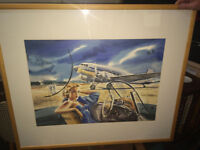 Very Nice Pair of Jack Leroy Le Marriage DC-3 Aviation Art Prints
