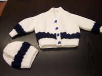 Beautiful hand knit new baby set cardigan and hat white and navy