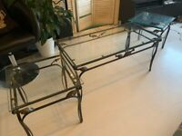 Glass Coffee Table and side stools