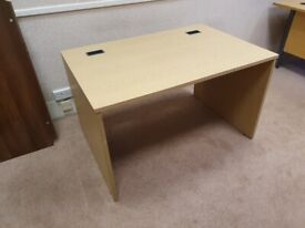 Neutral wood office desk/table w/modesty panel & cable manaegment