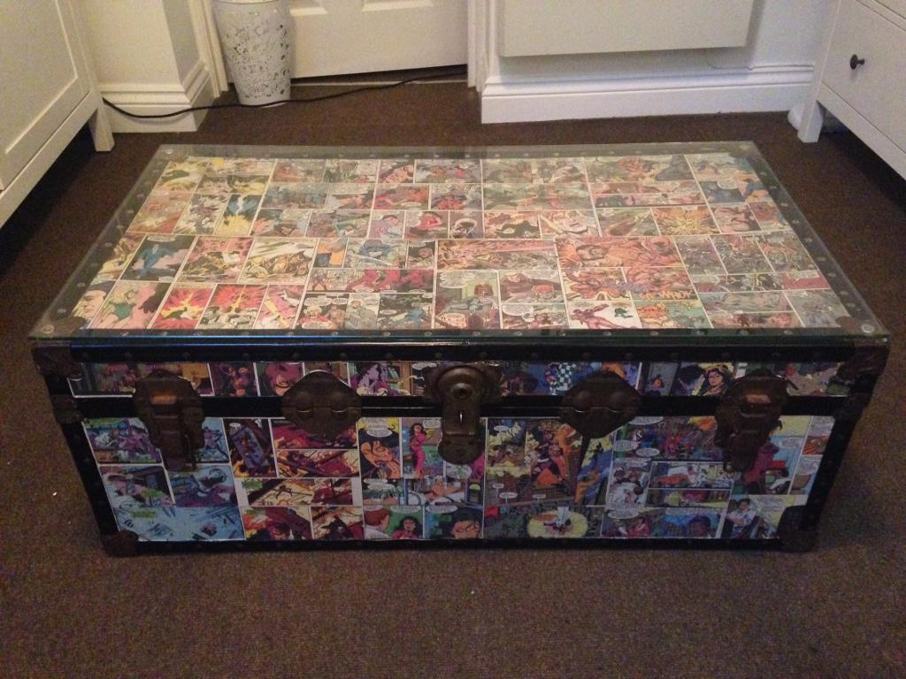 Coffee Table Vintage Trunk With Comic Decoupage