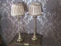 Pair of heavy Brass metal side table Lamps, Beige shades
