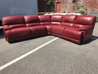 NEW/EX DISPLAY HARVEYS GUVNOR LARGE CORNER SOFA RECLINER 2c2 RED SUEDE LEATHER TYPE FABRIC