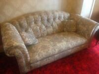 Button-Backed 3 Piece Suite with footstool and cushions for recovering
