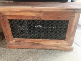 Solid oak rustic TV cabinet