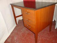 Vintage Single Pedestal Wooden Desk With 3 Drawers.