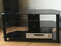 BLACK GLASS TV STAND WITH 2 SHELVES (box not included!)