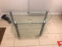 Glass three shelf TV stand for sale, great condition