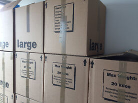 19 Large Boxes 46x46x46cm and a wardrobe box in very good shape - Ideal for a removal